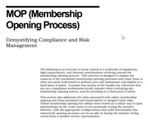 MOP(Membership Opening Process) Demystifying Compliance and Risk Management